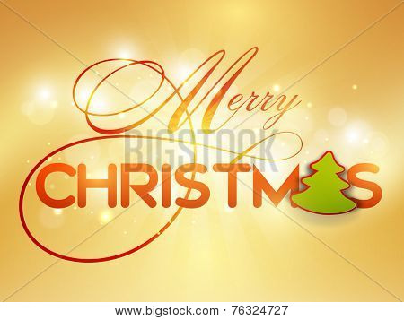 Stylish text with X-mas tree on shiny background for Merry Christmas celebrations , can be used as poster, banner or flyer.