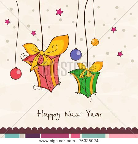 Beautiful greeting card with colorful hanging gifts and X-mas ball on star decorated background for Happy New Year 2015 celebrations.