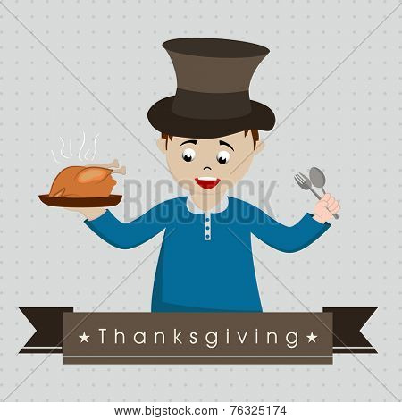 Cute little boy in pilgrim hat ready to eat cooked chicken on vintage grey background for Happy Thanksgiving Day celebrations.