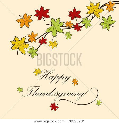 Colorful maple leaves decorated beige background for Happy Thanksgiving Day celebrations.