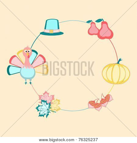 Happy Thanksgiving Day celebrations with circle frame decorated with cute turkey bird, maple leaves, acorn, pumpkin, fruits and pilgrim hat on beige background.
