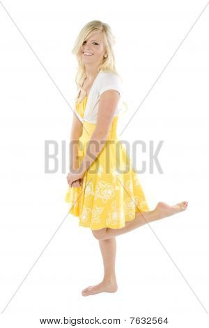 Girl In Yellow Dress Leg Up