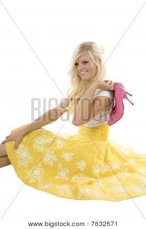 Girl In Yellow Dress Pink Shoes Over Shoulder