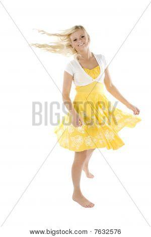 Girl In Yellow Dress Twirling