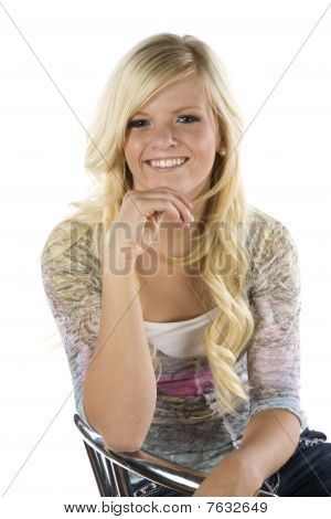 Girl Sitting On Chair Blond