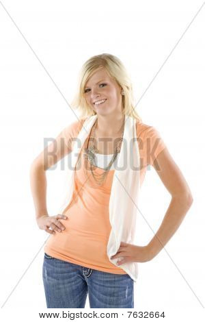 Girl Wearing Orange Shirt Posing