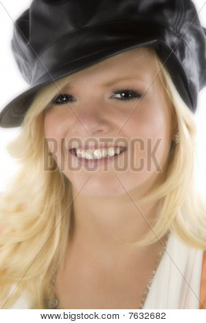 Girl With Black Hat Close Up