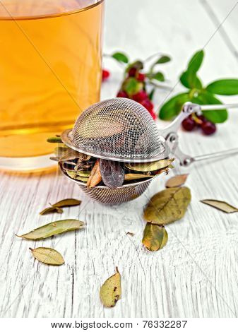 Lingonberry leaf in strainer with cup of tea