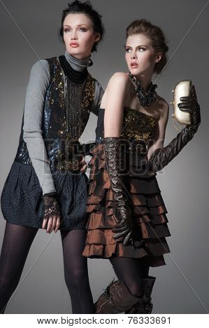 high Young fashion two girl wearing elegant black clothes on gray background