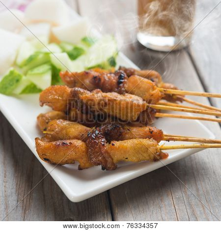 Chicken sate or satay, skewered and grilled meat, served with peanut sauce. Delicious hot and spicy Asian dish. Fresh cooked with steamed and smoke.