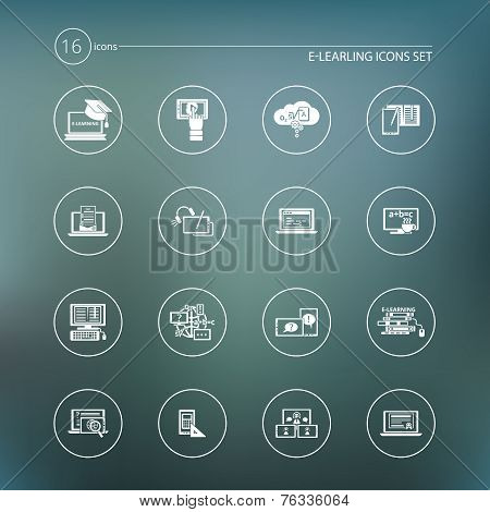 E-learning icon white