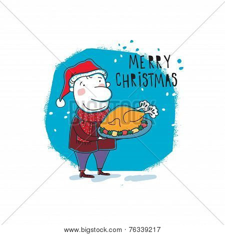 New Year card Christmas elf. Vector illustration
