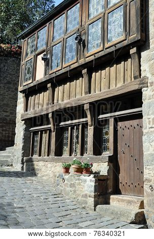 Half-timbered Building In The Rue Du Petit Port, In Dinan