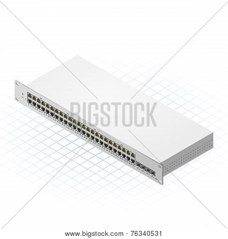 Isometric Switch with SFP Ports Vector Illustration