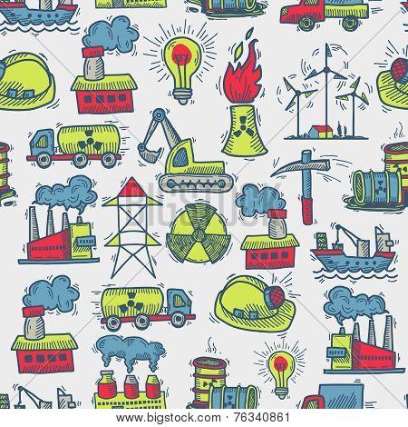 Industrial sketch seamless pattern