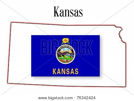 Kansas State Map And Flag