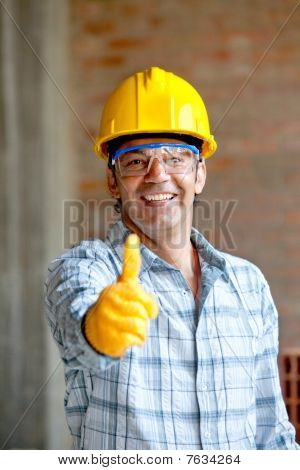 Construction Worker With Thumbs Up