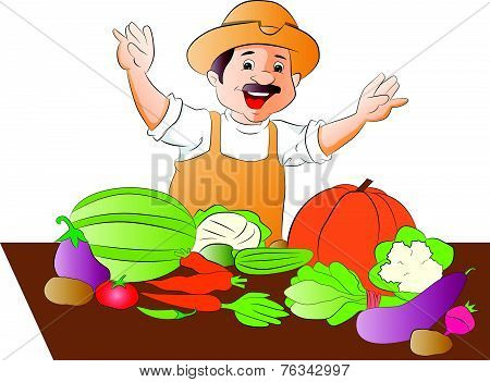 Vector Of Happy Vegetable Seller.