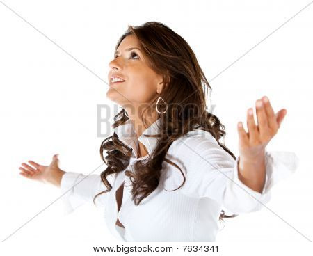 Business Woman With Arms Opened