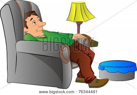 Man Slouching On A Lazy Chair Or Couch, Illustration