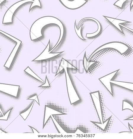 Vector seamless pattern of hand drawn monochrome comics arrows