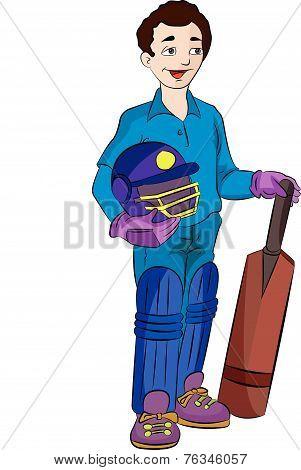 Cricket Player, Illustration
