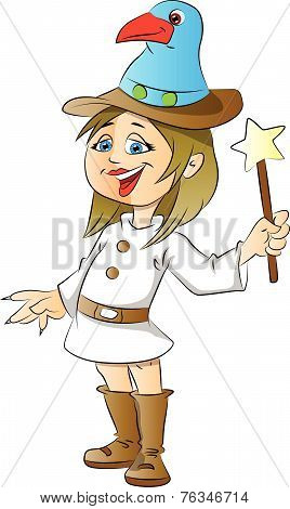Vector Of A Happy Girl With Magic Stick On White.