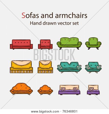 Vector Icon set of sofas and armchairs