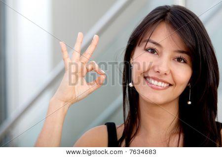 Business Woman Making An Ok Sign