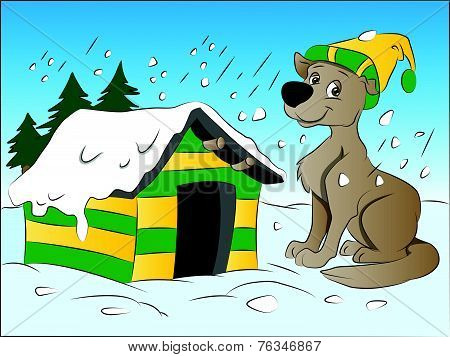 Dog In Winter, Illustration