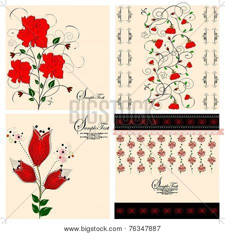 Set Of Four (4) Vintage Invitation Cards With Ornate Elegant Retro Abstract Floral Designs