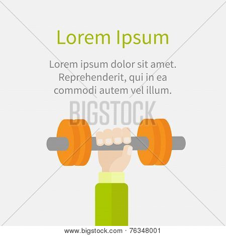 Hand Holding Dumbell Sport Fitness Healthy Lifestyle Concept Template Flat Design