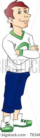 Vector Of Teen Boy With Arms Crossed.