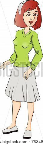 Vector Of  Teen Girl Looking With Curiosity.
