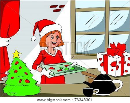 Vector Of Happy Woman With Christmas Cookies On Tray.