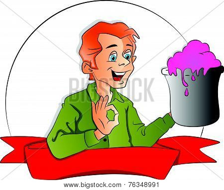 Vector Of Happy Man Holding Ice Cream Tub And Gesturing.