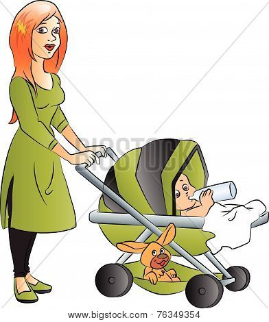 Vector Of Mother With Baby Drinking Milk In Pram