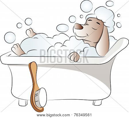 Vector Of Dog In Bathtub.