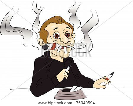 Vector Of Man Smoking Cigarettes And Cigar.