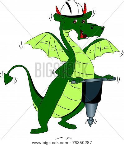 Vector Of Dragon Using A Power Jackhammer