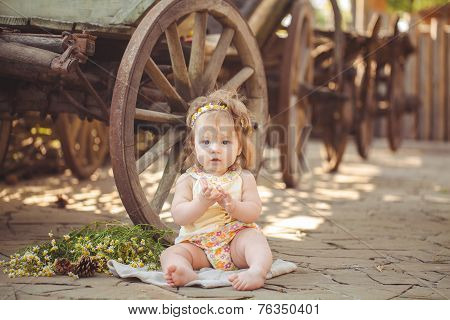 Portrait of a little country girl.