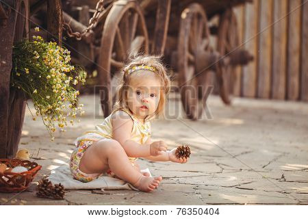 Little girl playing with fir cones in the countryside in the fresh air.