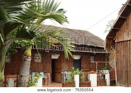 Reed bungalow for tourists in Vietnam