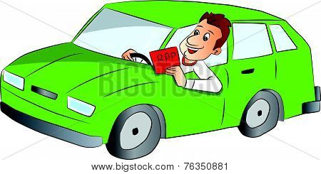 Vector Of Man Driving Car And Showing Rap Sign.