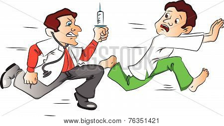 Vector Of Male Patient Escaping From The Doctor With A Syringe.
