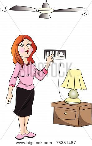 Vector Of Woman Switching On Fan.