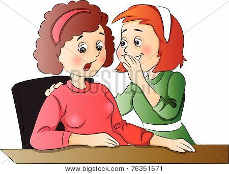 Vector Of Women Gossiping At Office.