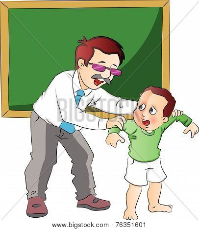 Vector Of School Teacher Scolding Small Boy.