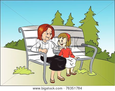 Vector Of Smiling Mother And Daughter Sitting On Bench At Park.
