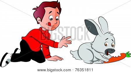 Vector Of Boy Hungrily Looking At Rabbit Eating A Carrot.